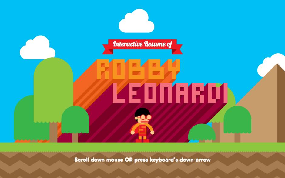 The game inspired interactive resume of Robby Leonardi screenshot
