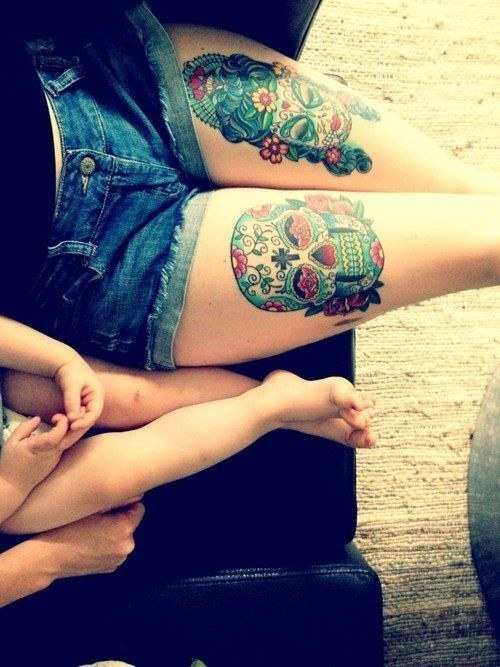 Sugar Skull Thigh Tattoo