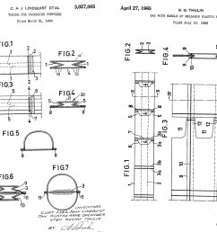 left original 1962 tube cut bag patent right additional 1965 patent with punch out handles [ 1140 x 888 Pixel ]