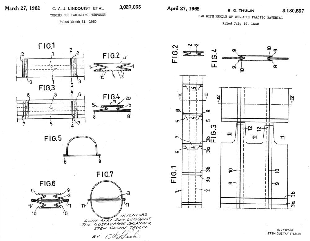 medium resolution of left original 1962 tube cut bag patent right additional 1965 patent with punch out handles