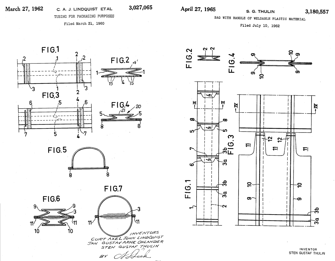 hight resolution of left original 1962 tube cut bag patent right additional 1965 patent with punch out handles