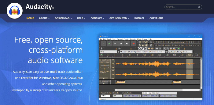 Software di editing podcast gratuito Audacity