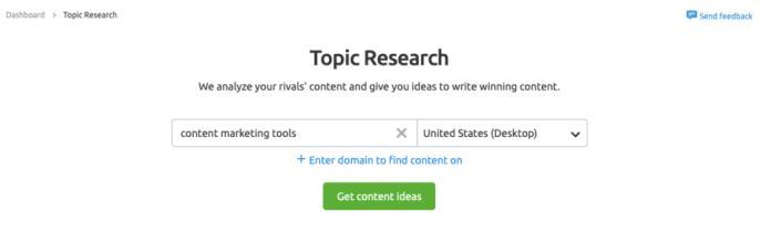 SEMrush Topic Research - Strumenti di marketing dei contenuti