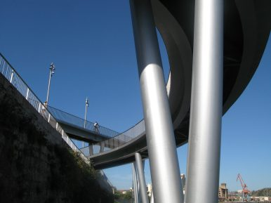 shiny metal footbridge supports