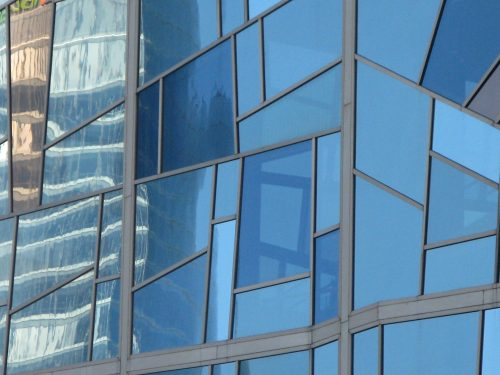 window of blue glass panes