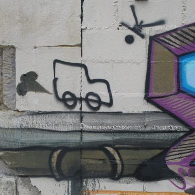 van motif on motorbike wall painting