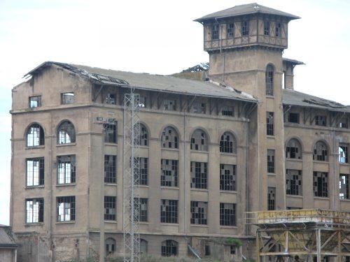 derelict brick factory building