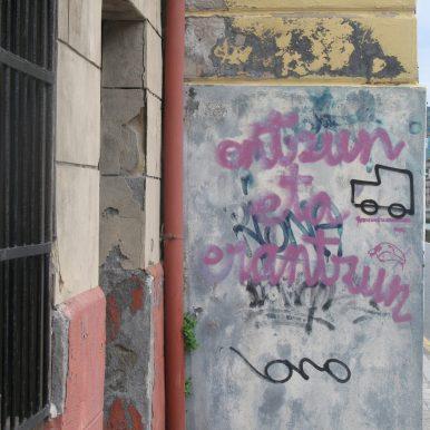 scribbled wall with van motif