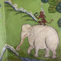 elephant and monkey wall-painting detail