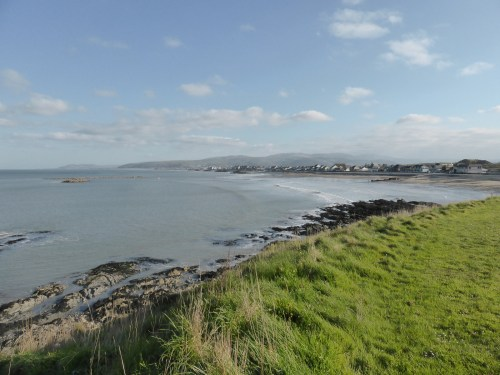 view across low cliff to Borth village