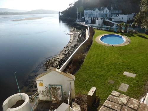 walls and pool along waterfront