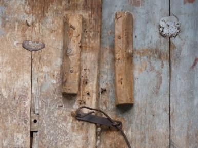 wooden and wire door fastening