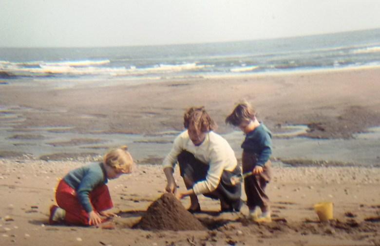 building sandcastles on the beach