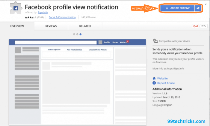 Detect your facebook profile visitor