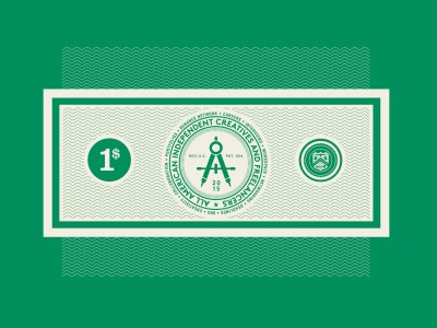 A currency bill on green background.