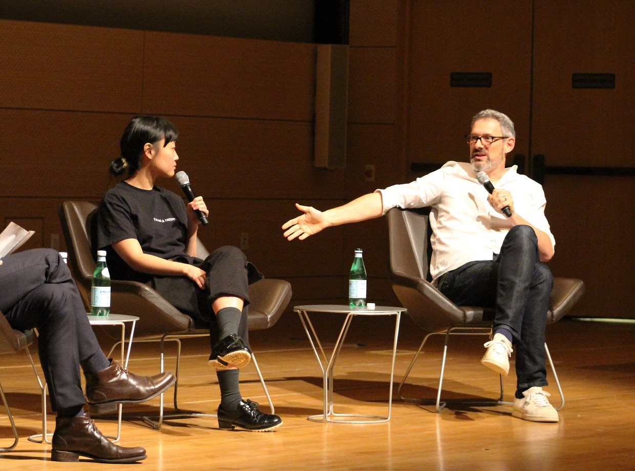 Big Spaceship CEO Mike Lebowitz and illustrator Ping Zhu talking at AIGA NY. Photo by Tony Tailor for AIGA/NY