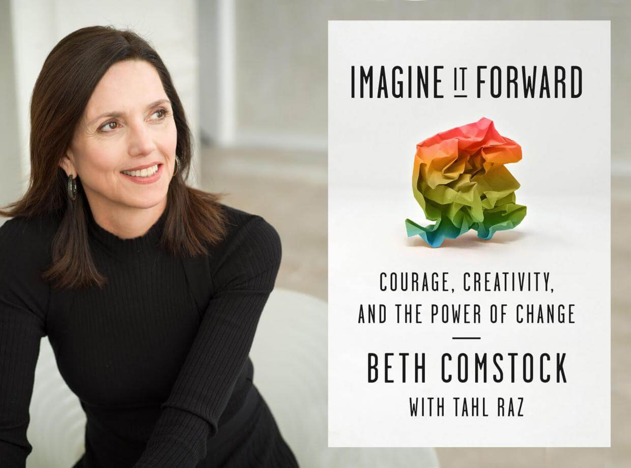 Portrait of Beth Comstock with cover of her book.