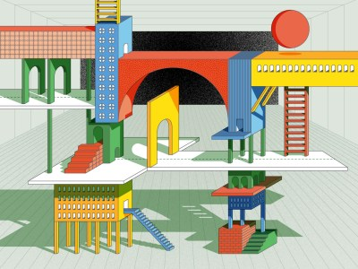 Colorful illustration of ladders and arches