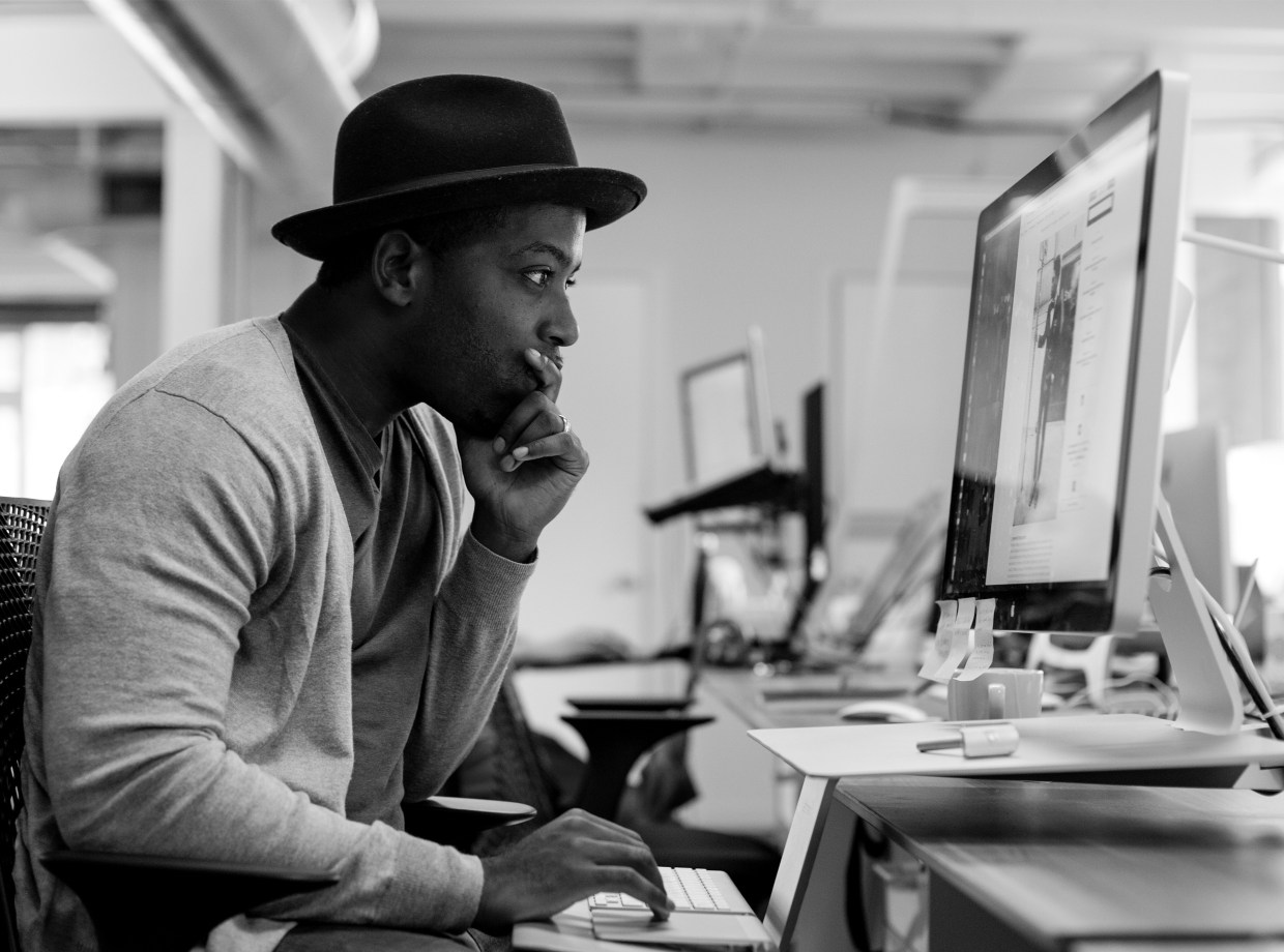 Tristan Walker, the founder of Bevel, working at a computer. Image courtesy of Tristan Walker.