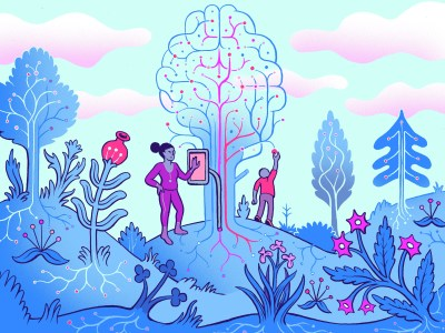 An illustrated mother watching her child pull an apple from an AI tree
