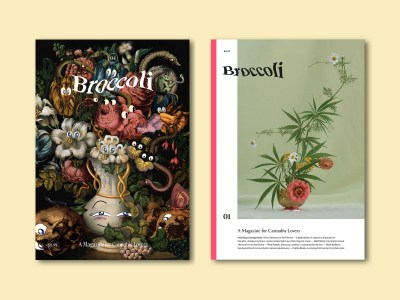Two side-by-side issues of Broccoli magazine