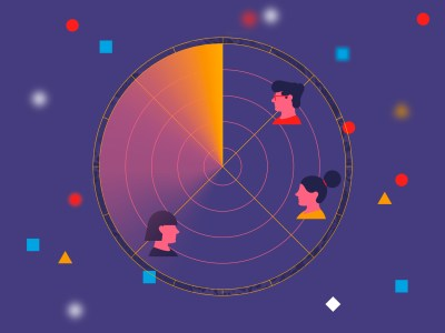 Three illustrated heads on radar symbol with colorful dots on purple background