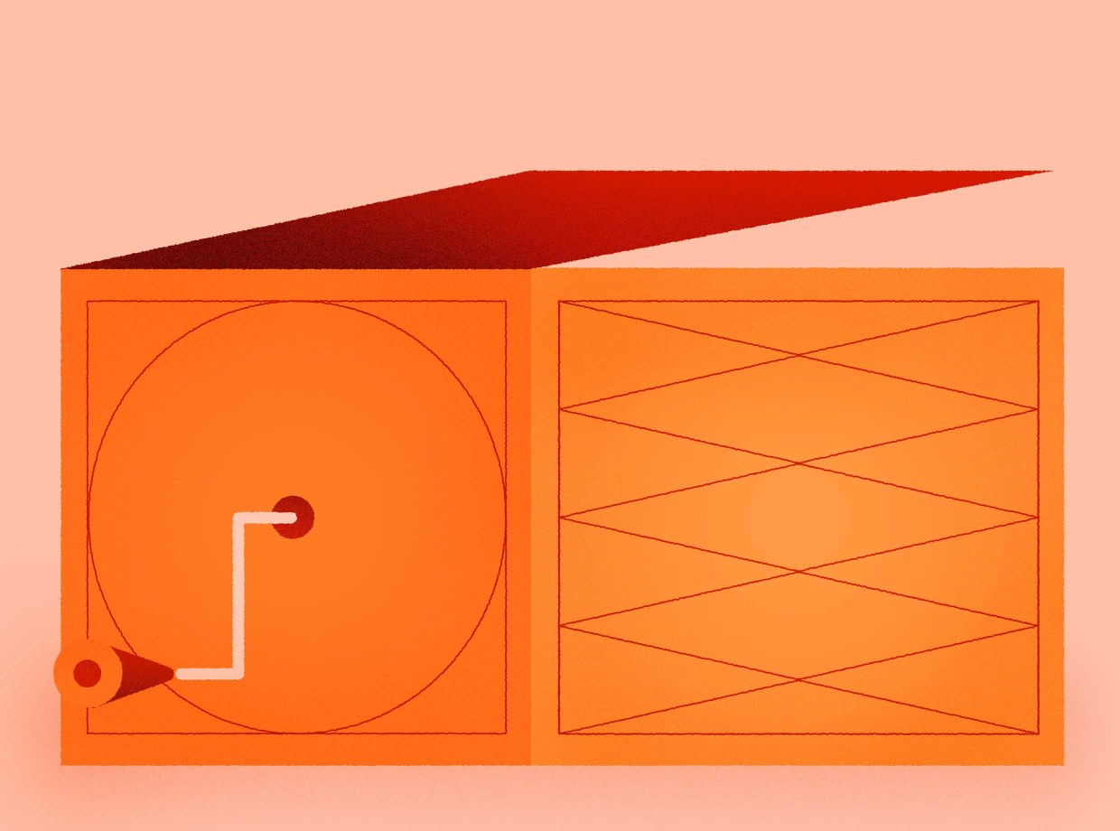 Illustration of an orange jack-in-the-box toy