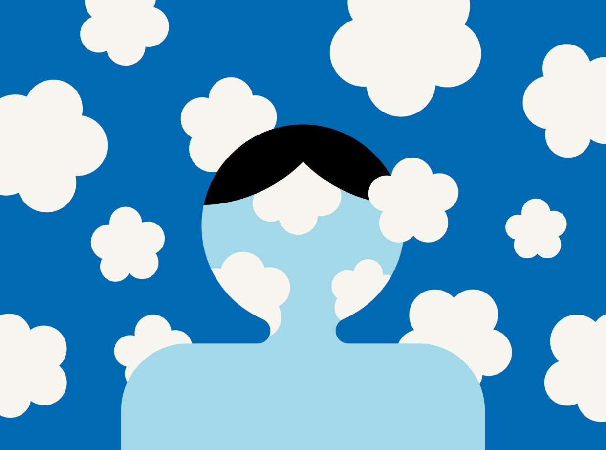 A depiction of a person with clouds expanding from his or her head