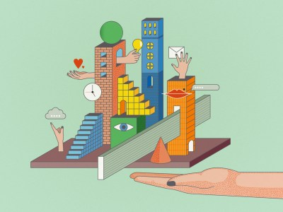 illustration of the ten human skills amidst a city with a soft green background and an arm reaching out to it