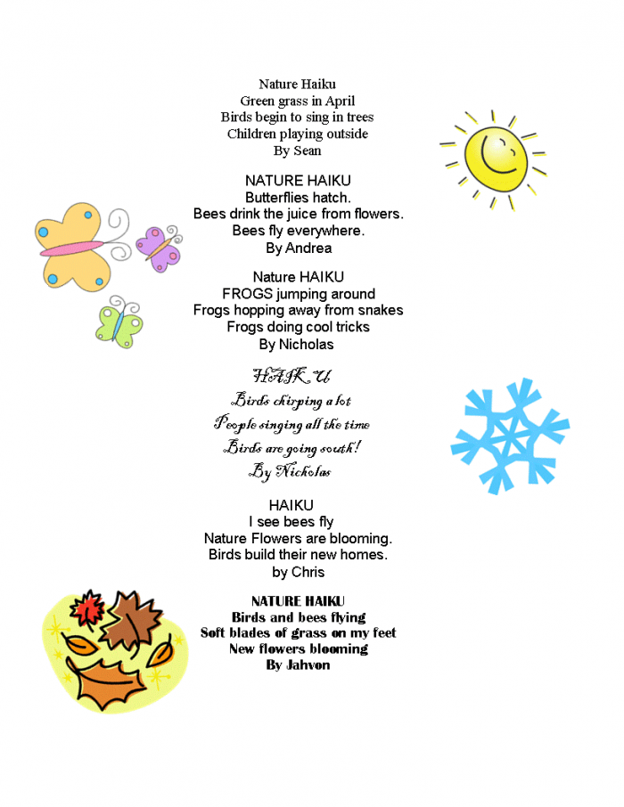 Example Of Haiku Poem About Nature : example, haiku, about, nature, Nature, Haiku, Worksheets, 99Worksheets