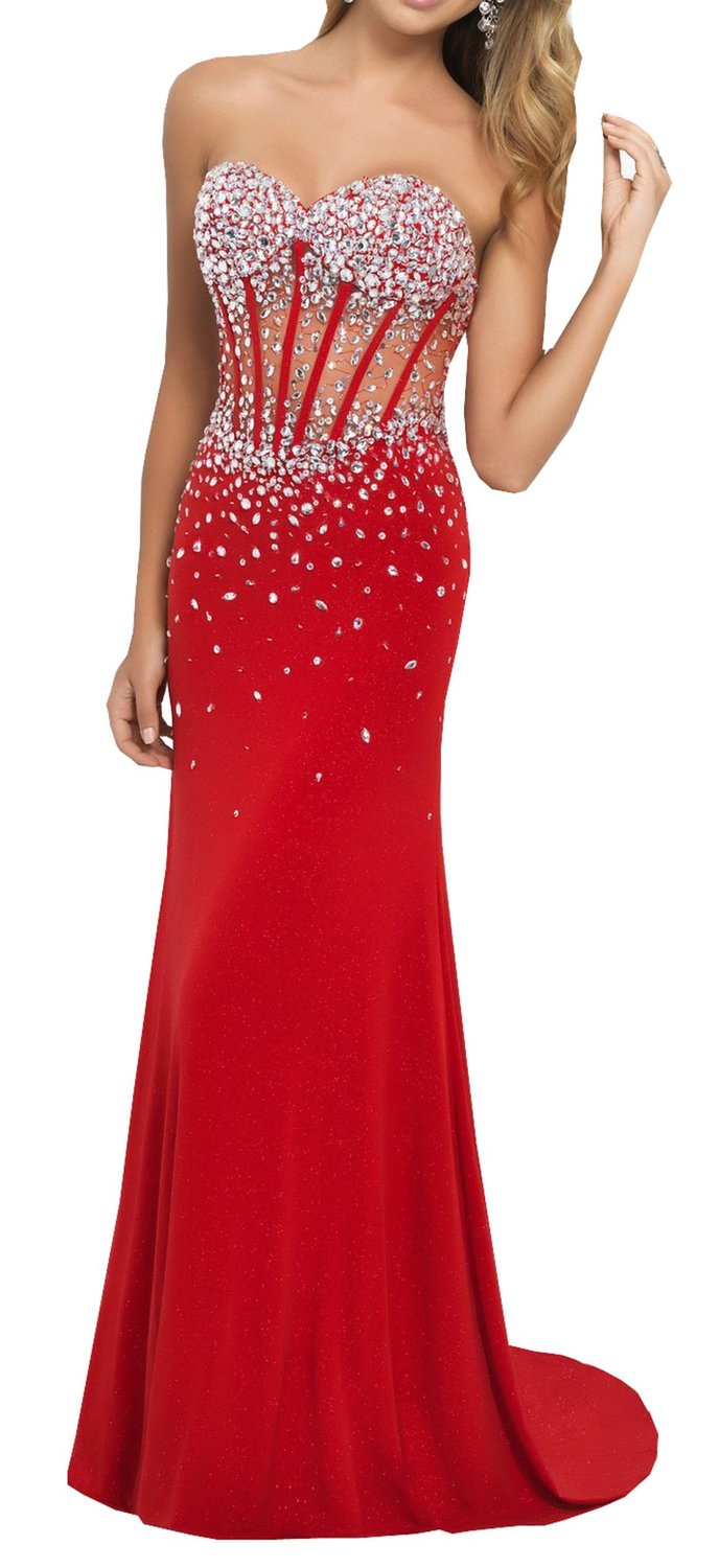 Prom Dresses Party Dresses Sweetheart Corset Style Bodice Strapless Crystals Evening Gown on Luulla