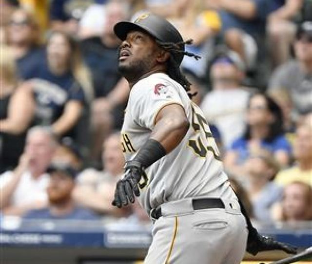 Josh Bell Watches His Sacrifice Rbi Ball In The Third Inning Against The Milwaukee Brewers At