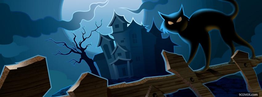 Emoji Quotes Wallpaper Black Cat And Haunted House Photo Facebook Cover