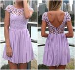 Cute Purple Lace And Floral Design Chiffon Dress Luulla