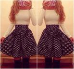 Cute Long Sleeve Polka Dots Dress Luulla