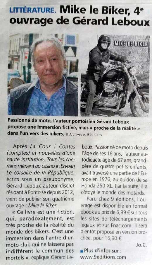 La Gazette du Val D'Oise du 27 janvier 2021 Mike le Biker de Gérard Leboux
