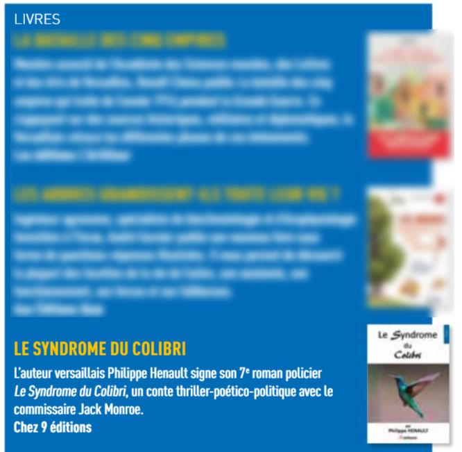 Article du Versailles Magazine pour la sortie littéraire du roman Le syndrome du Colibri de Philippe  Hénault