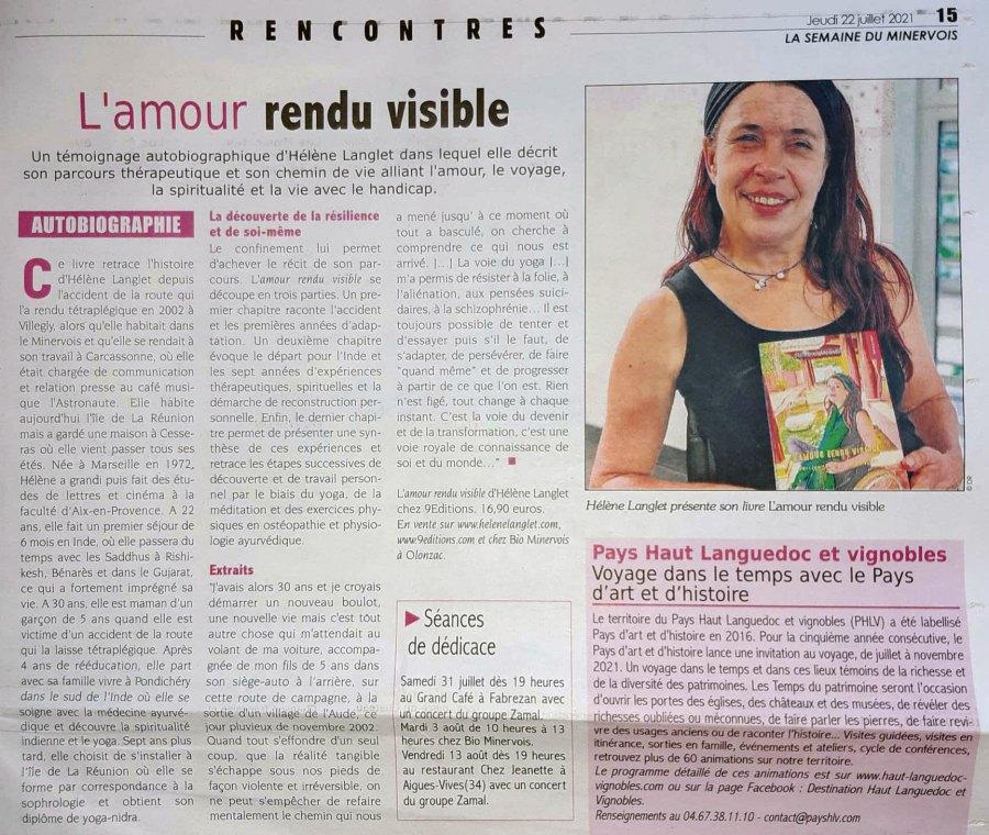 9 EDITIONS ARTICLE Hélène Langlet semaine du minercois