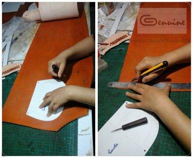ทำการตัดชิ้นหนัง จากแพทเทิรน์กระดาษที่เตรียมไว้