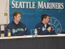 Michael Saunders and Dustin Ackley at a Mariners Caravan Event