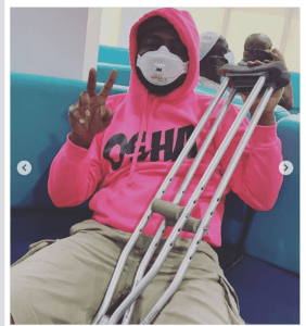 Davido In Crutches After Spraining His Ankle