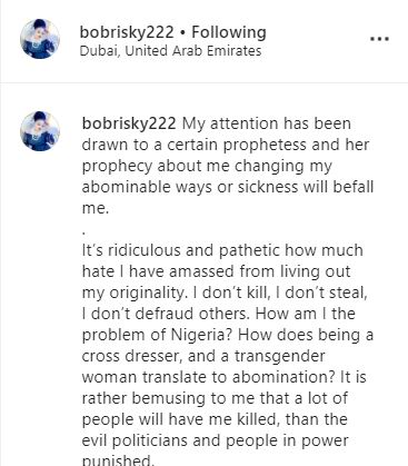 Bobrisky Breaks Silence After Prophetess Released Damning Prophecy Against Him 10