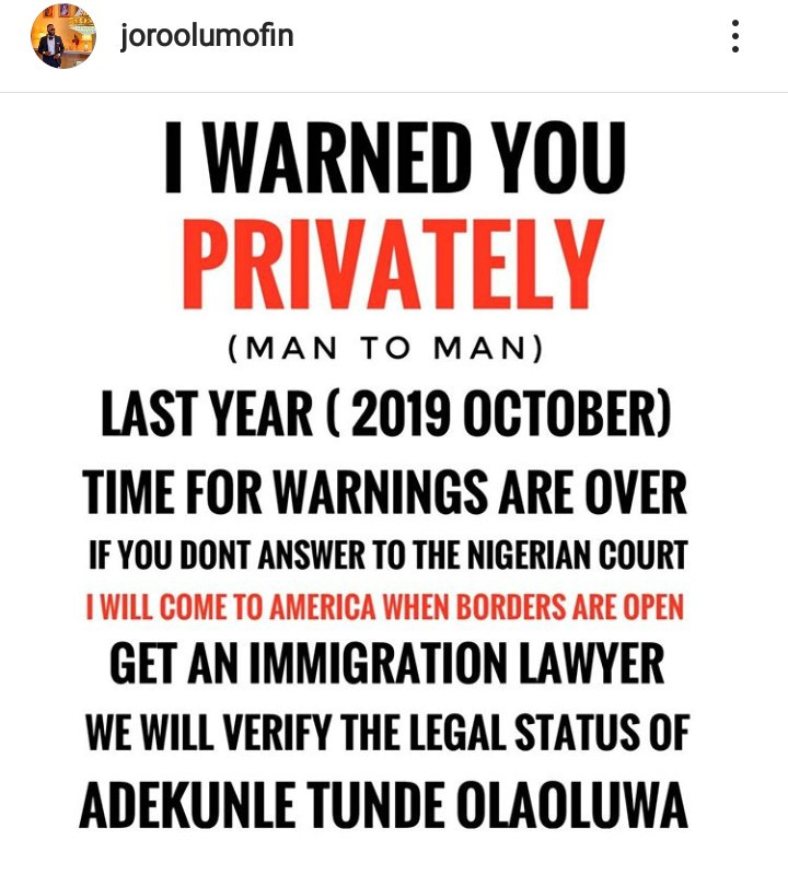Bloggers At War: Tunde Ednut Fires Back At Joro Olumofin After He Took Legal Action Against Him