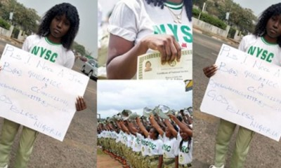 Lady begging for job with placard