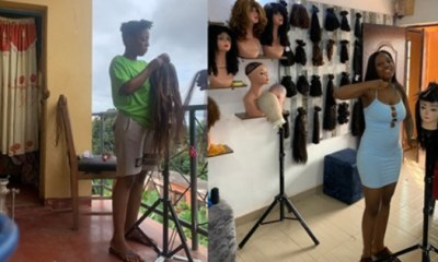 Lady selling wig in her room