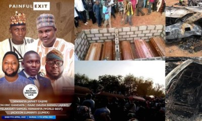 Photos from the burial of five friends