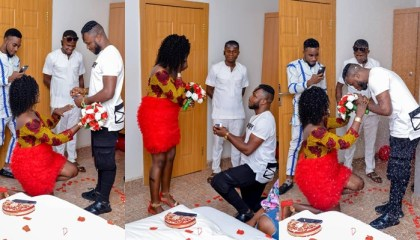 """""""He deserves it"""" – Lady says as she kneels down to accept her boyfriend's proposal (Photos)"""