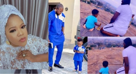 Toyin Abraham shares lovely video of her husband and son praying on the mountain (Video)
