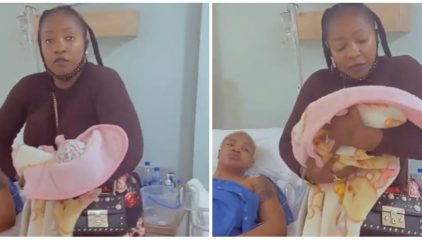 Anita Joseph visits Uche Ogbodo in the hospital to see her new baby girl (Video)