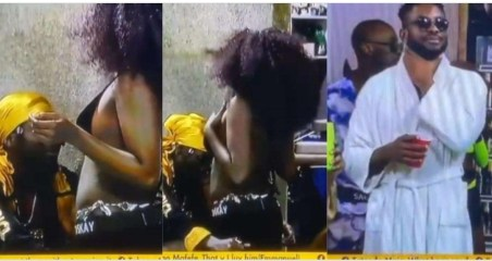 """#BBNaija: """"Cross should leave this girl"""" – Reactions as Saskay is spotted giving Jaypaul a romantic dance (Video)"""